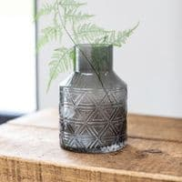 Dark Grey Patterned Glass Vase | Home Accessories